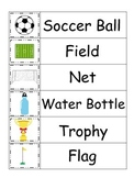 Soccer Sports themed Word Wall theme fo preschool educational teachers.