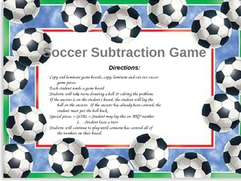 Soccer Subtraction Facts Center Game