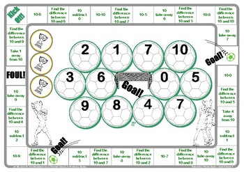 Soccer Subtraction Words Game