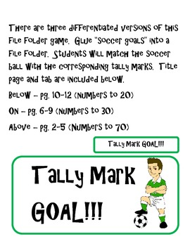 Soccer Tally Mark File Folder Game