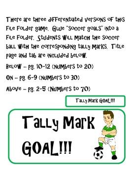Soccer Tally Mark File Folder Game
