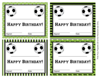 Soccer Theme Birthday Certificates