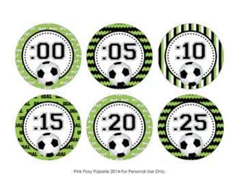 Soccer Theme Clock Number Labels