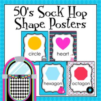 50's Sock Hop Theme Shape Posters