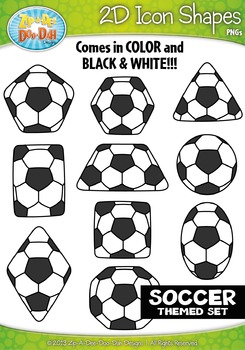 Soccer 2D Icon Shapes Clipart {Zip-A-Dee-Doo-Dah Designs}
