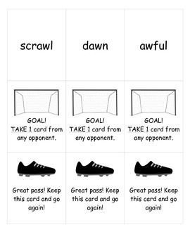 Soccer-Themed Card Game for Vowel Teams AU and AW