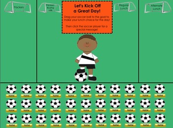 "Soccer Themed ""Let's Kick Off a Great Day!"" SMART Board Lunch Count & Attendance"