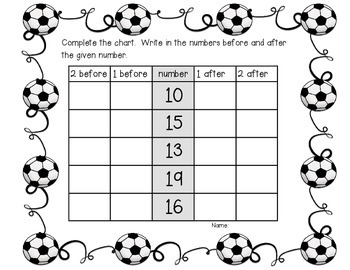 Soccer Themed Number Sequence Centre