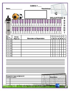 Soccer Themed Piano Lessons Assignment Sheet *PRACTICE* *SCORE*