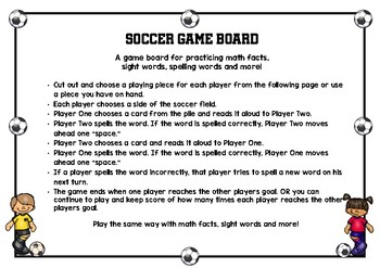 Soccer Time Game Board For Practicing Spelling, Math and Sight Words