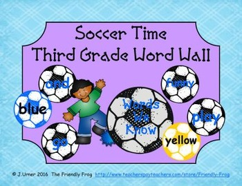 Soccer Time Third Grade Word Wall