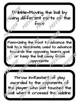 Soccer Vocabulary Word Wall