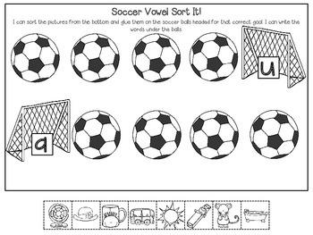 Soccer Vowel Sounds Sort It! Score It!