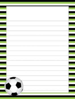 Soccer Writing Paper - 3 Styles - 4 Designs