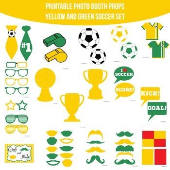 Soccer Yellow Green Printable Photo Booth Prop Set