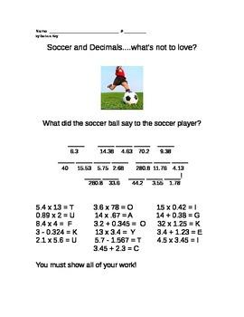 Decimals Puzzle to Review Addition Subtraction Multiplicat