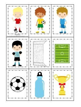 Soccer (boys) themed Memory Matching Cards preschool printable game.