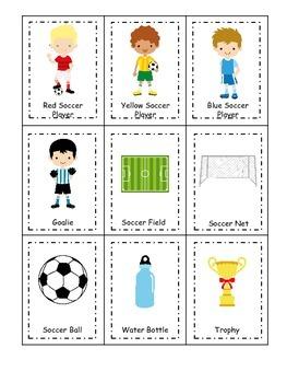 Soccer (boys) themed Three Part Matching preschool educational game.