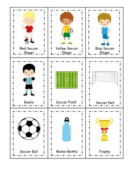 Soccer (boys) themed Three Part Matching preschool educati