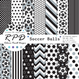 Soccer football black printable digital papers & clipart set