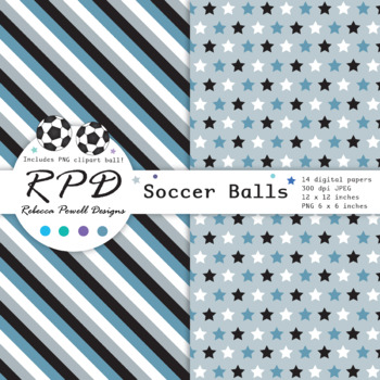 Soccer football blue grey printable digital papers & clipart set