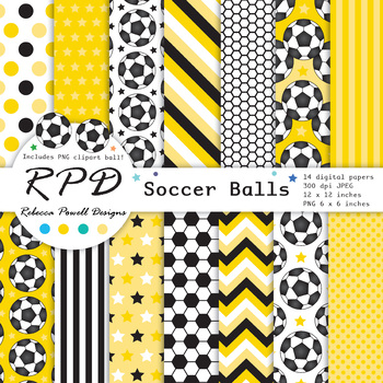 Soccer football blue printable digital papers & clipart set