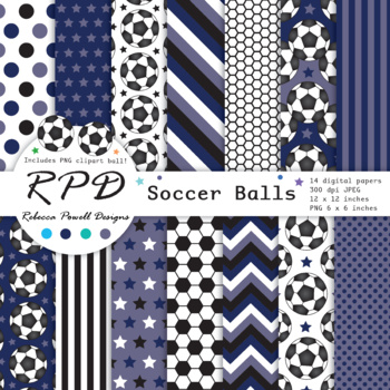Soccer football green printable digital papers & clipart set