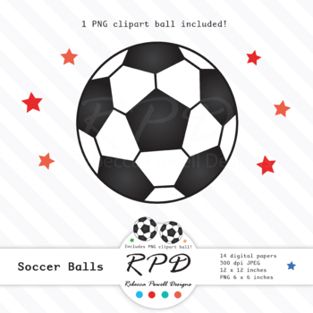 Soccer football red and orange printable digital papers & clipart set