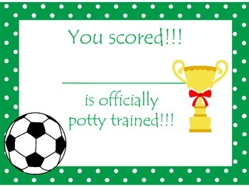 Soccer (girls) themed Health Potty Chart and Certificate preschool printable.
