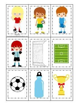 Soccer (girls) themed Memory Matching Cards preschool printable game.