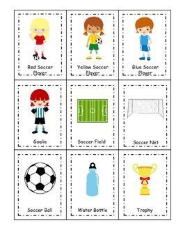 Soccer (girls) themed Three Part Matching preschool educational game.