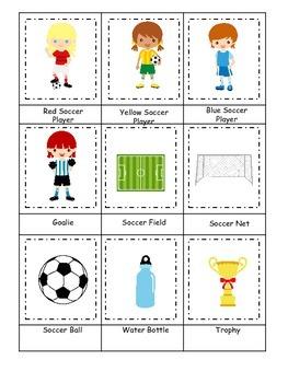 Soccer (girls) themed Three Part Matching preschool educat