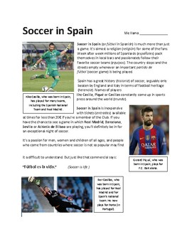 Soccer in Spain - Sub Plan (updated 2017)