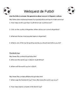 Soccer in Spanish Culture Webquest