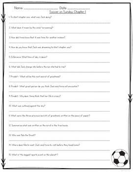 Soccer on Sunday {Magic Tree House} Comprehension Activities