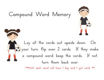 Soccer theme Compound word maker memory