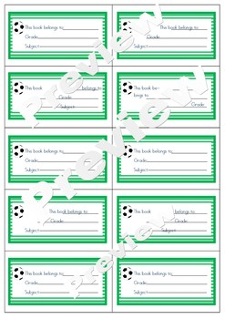 Soccer theme book labels back to school