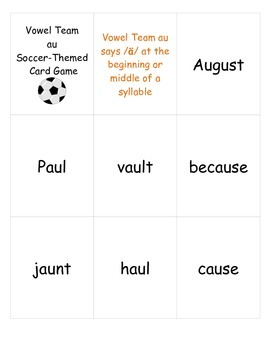 """Soccer-themed Card Game for Vowel Team """"au"""" Words"""