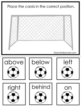 Soccer themed Positional Game.  Printable Preschool Curriculum Game