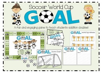 Soccer themed addition doubles facts game: GOAL!