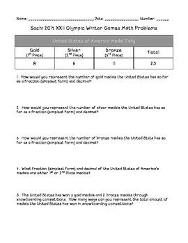 Sochi 2014 XXII Olympic Winter Games Math Problems