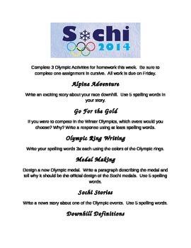 Sochi Spelling Packet