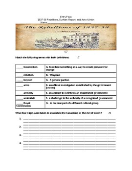 Social 7 Chapter 7 Alberta Curriculum Entry Pass and Worksheet