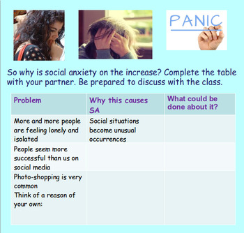 Social Anxiety - Mental Health (1hr PP, different worksheets, clips)