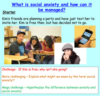Social Anxiety - Mental Health (1hr PP, different workshee