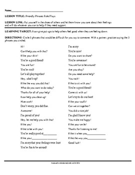 Social Awareness: Friendly Phrases Role Play!