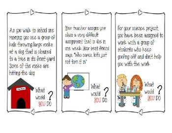 What Would You Do? Social Behavior Task Cards ~ Citizenship & Community Building