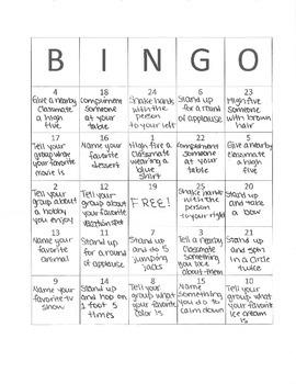 Social Bingo classroom lesson