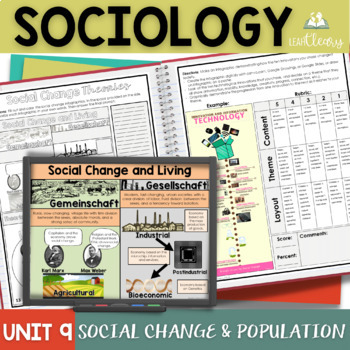Social Change and Population Sociology Interactive Notebook Unit Bundle