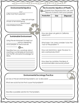 Social Change and the Environment Powerpoint, Cloze Notes, and Activity